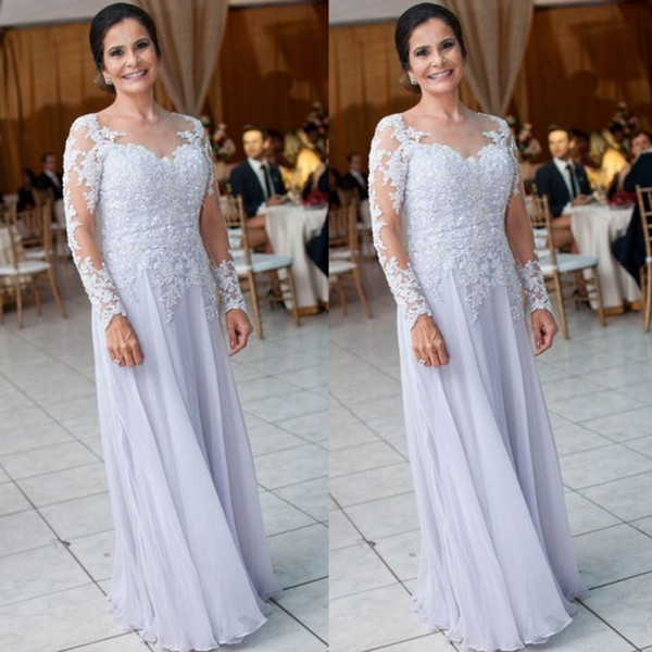 Plus size Chiffon Mother Of The Bride Dresses 2019 Illusion Long Sleeves Appliques Women Formal Wedding Guest Dresses