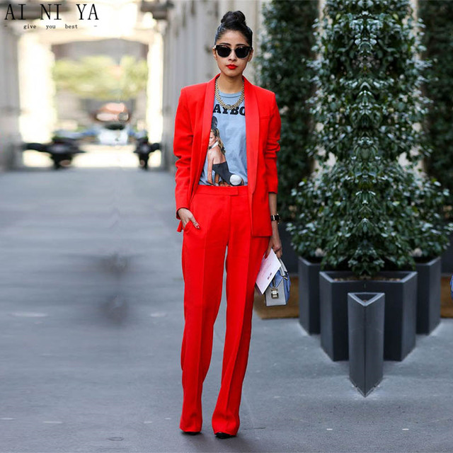 e4edfea2ab2 Jacket+Pants Red Women Business Suits Blazer Female Office Uniform 2 Piece  Suits Ladies Winter Formal Suits Women Trouser Suit