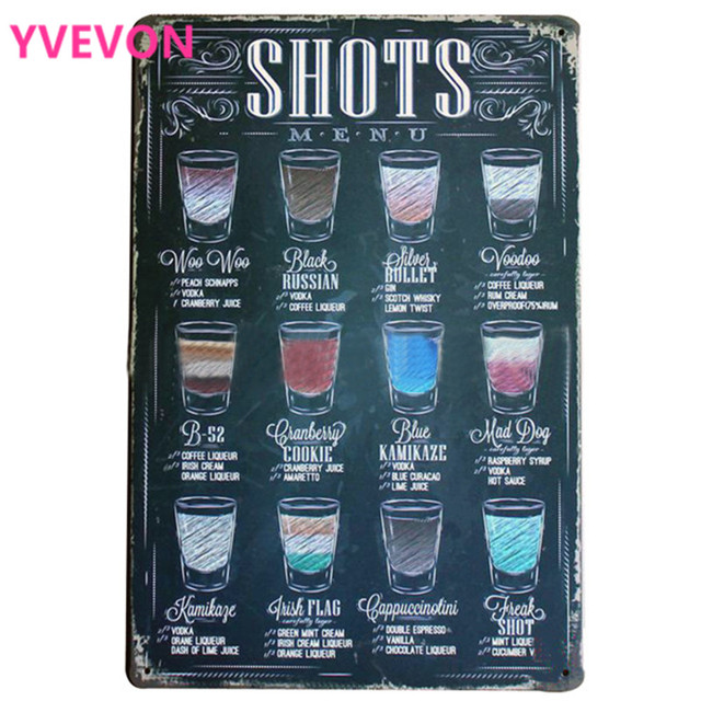 SHOTS menú Vintage cartel de vino Retro lata de neón placa decoración hogar para negocios salón Oficina fiesta pared arte LJ4-12 20 cm 30