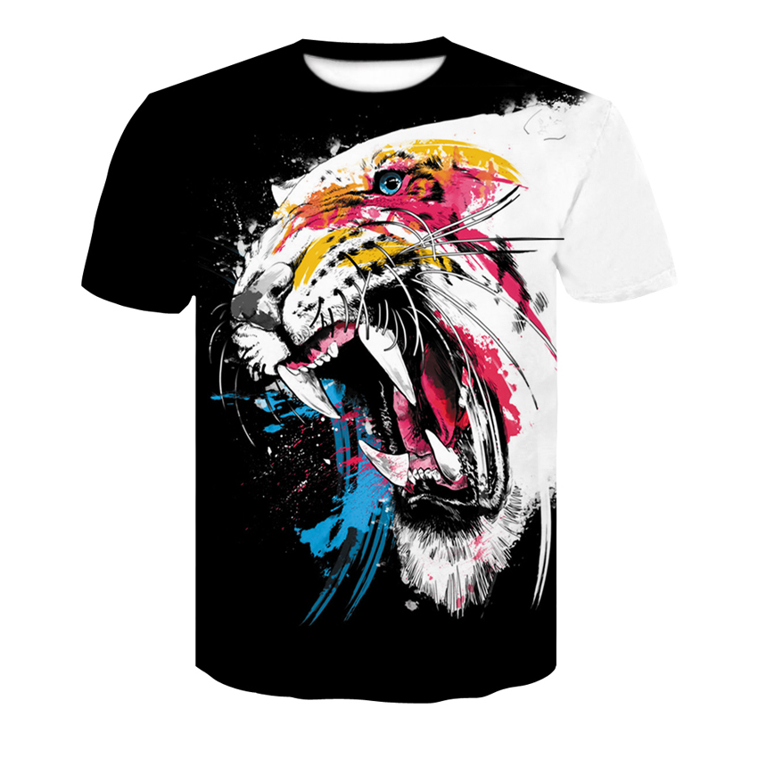 Fashionable Men's Short Sleeve Summer Ice Cream T-shirt Men's Round Neck And Tiger Print Brand Short Sleeve Personality Trend Th