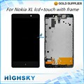 "Tested 1 Piece Free Shipping Display  + Frame 5"" Black Replacement For Nokia XL RM-1030 RM-1042 LCD Screen With Touch Digitizer"