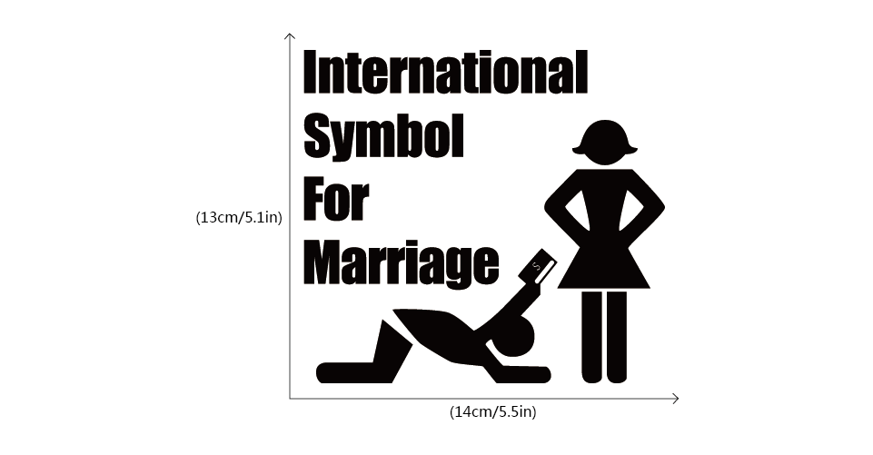 International Symbol For Marriage Car Sticker Funny Cartoon Vinyl
