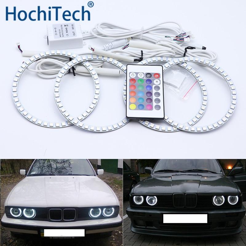 Pour BMW E30 E32 E34 Kit yeux d'ange Led multicolore anneaux Halo RGB feux de jour DRL