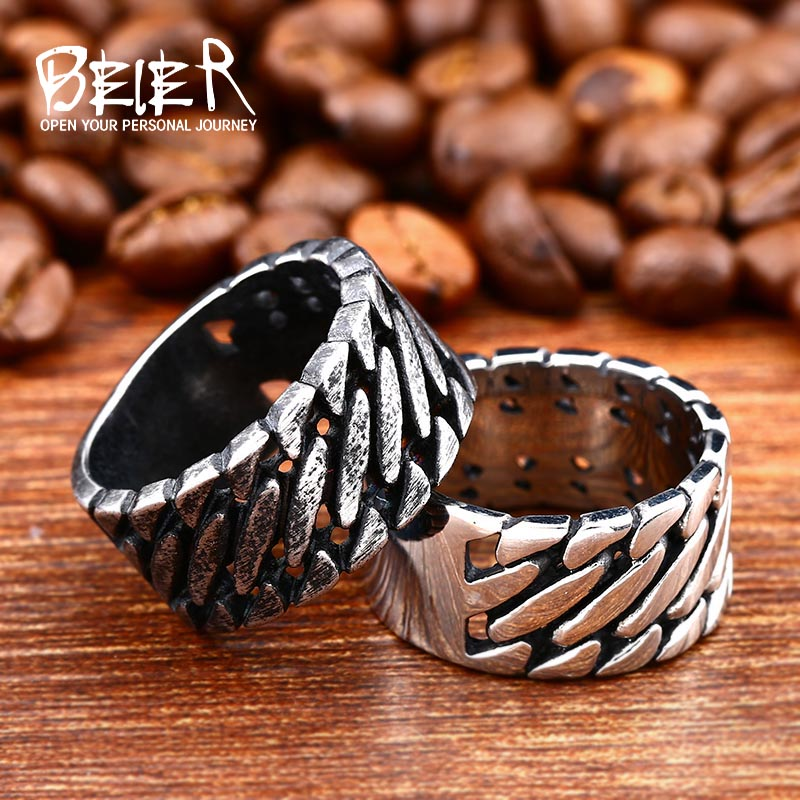 Beier 316L Stainless Steel Wide Chain Knitting Ring Personality Exagerrated Special high quality Fashion Jewelry LR499