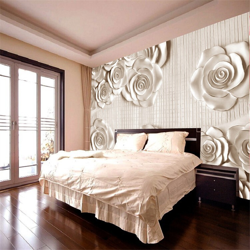 Beibehang photo wall paper 3d stereoscopic rose minimalist for Minimalist living bedroom