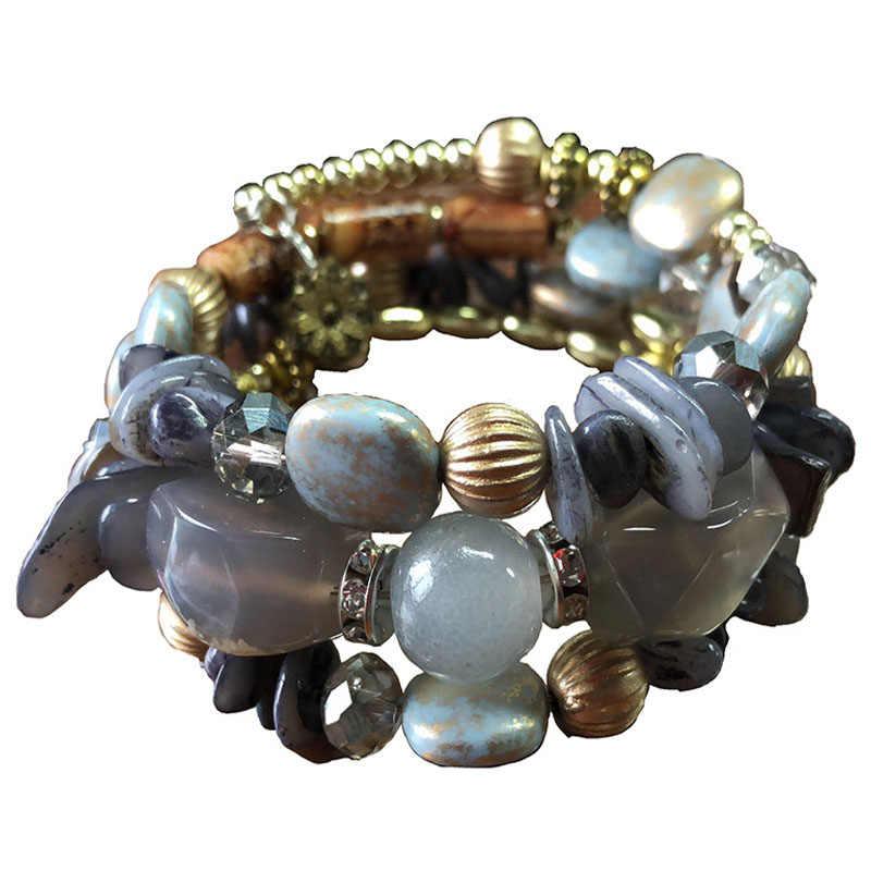 Pulsera de mujer Bohemia de imitación de piedra Natural rebordear pulseras de bobinado multicapa un buen regalo para amigos