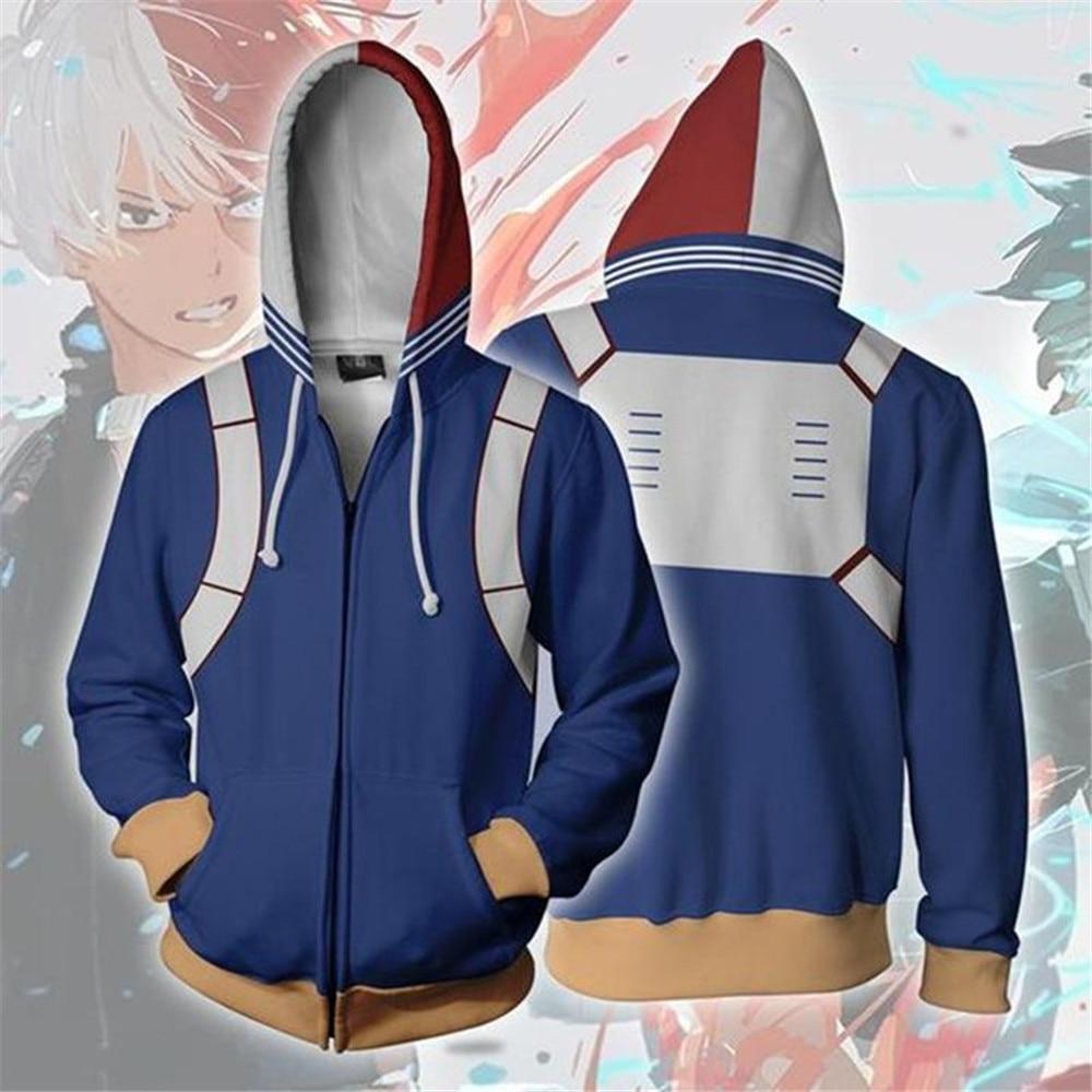 Hero Academia Sweatshirts European and 3D Printing zipper Jacket Hooded sweater coat tops Cosplay Todoroki Shoto Costume adult