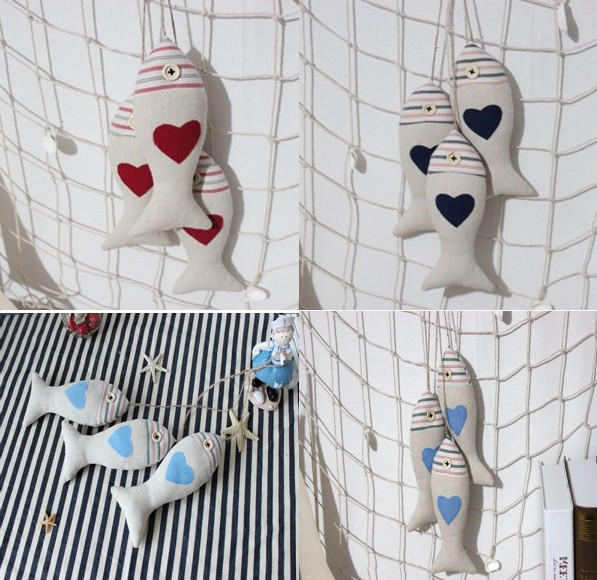 2018 Newest Zakka Cloth Linen Mediterranean Fish Wall Crafts For