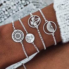2019 FASHION 4pcs Bohemia Silver Wave Anklets Bracelets For Women Rope Beach Anklet Jewelry Браслеты Free shipping(China)