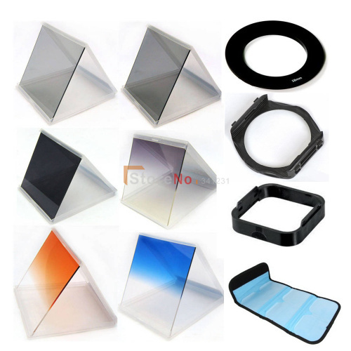 Free Ship 10 in 1 gradient Filter set x3 nd mirror +67mm adapter ring +filter holder+ bag case +Lens Hood & Holder for Cokin P
