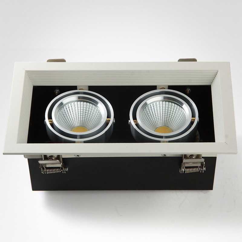 Квадратный Светодиодный точечный светильник COB светильник 7 Вт 12 Вт 20 Вт светодиодный встраиваемый потолочный светильник с одной/двойной головкой светодиодный светильник с решеткой