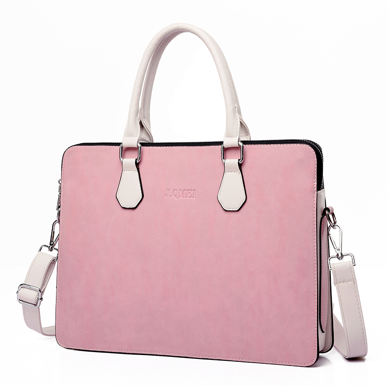 Fashion Waterproof PU Leather Laptop Bag Case Women Shoulder Laptop Bag 13 13.3 14 15 15.6 Inch For Macbook Air Pro Handbag Pink