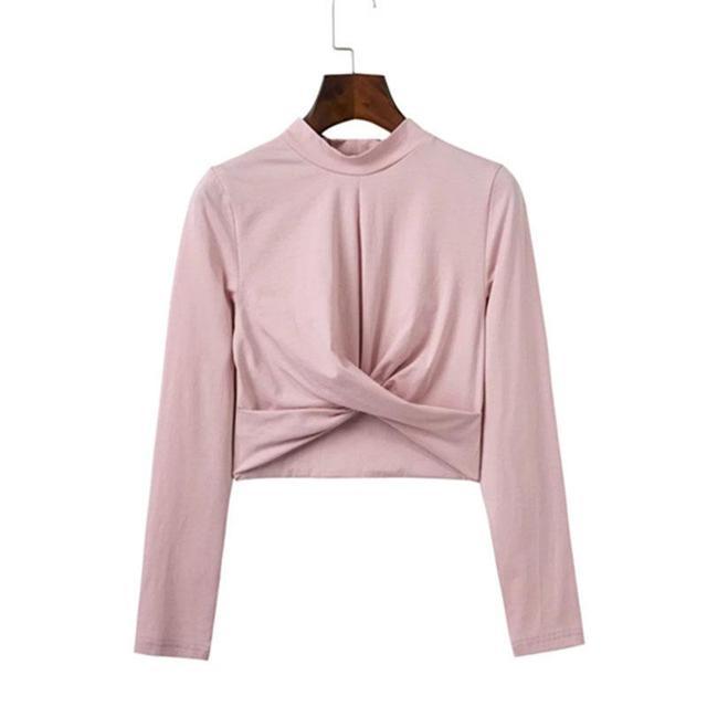 Women 2016 autumn chic black fold short top tees Winter slim party white blouse shirt Sexy cross long sleeve crop top