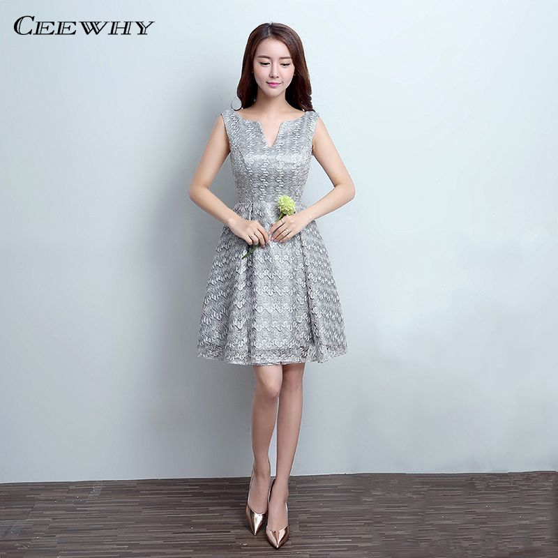 Discount Designer Dresses Cocktail: CEEWHY Gray Sleeveless V Opening Knee Length Lace Wedding