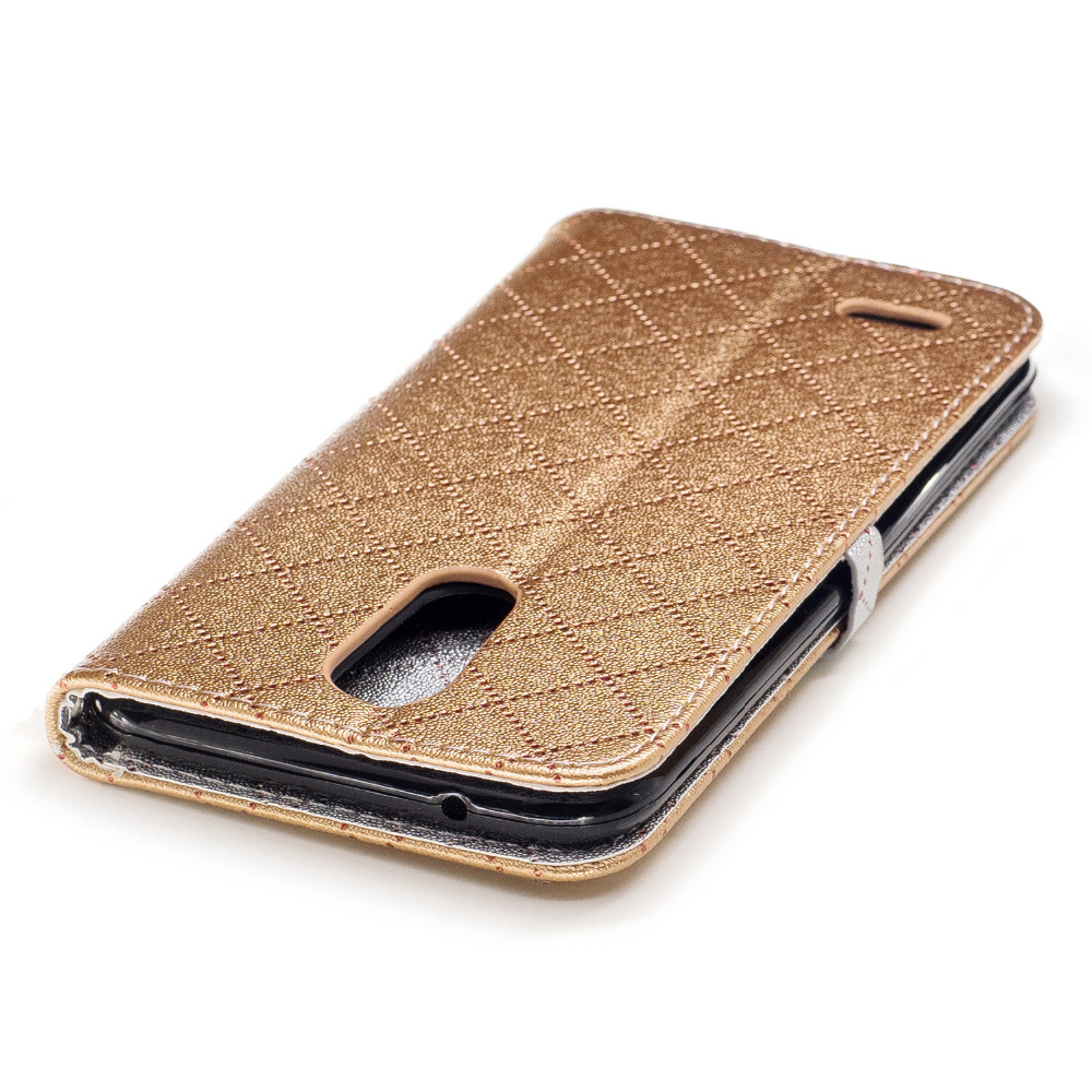 Luckbuy Pu Leather Grid Wallet Flip Case For Lg K7 K8 Love Heart