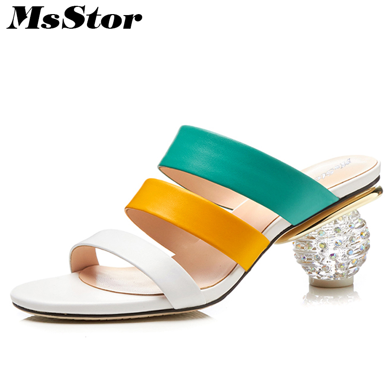 MsStor Round Toe Rhinestone Sandals Fashion Mixed Colors High Heels Woman Sandals 2018 Summer Open Toed Women High Heel Sandals