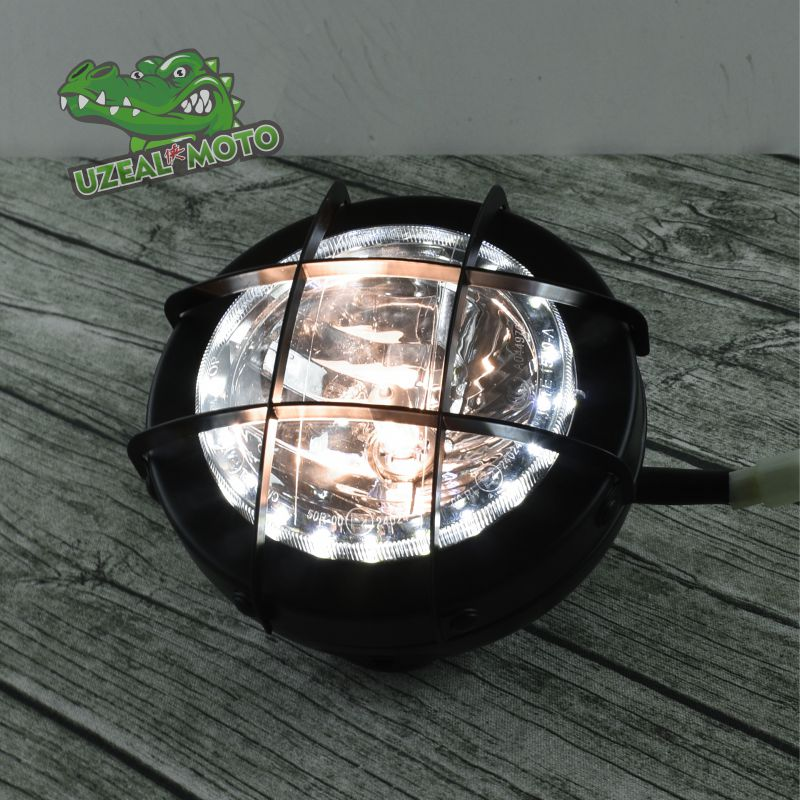 6.9 Inch Vintage Headlight Tracker Scrambler Motorcycle Grille Headlamp Motorbike Front  LED Daytime Running Light With Guard