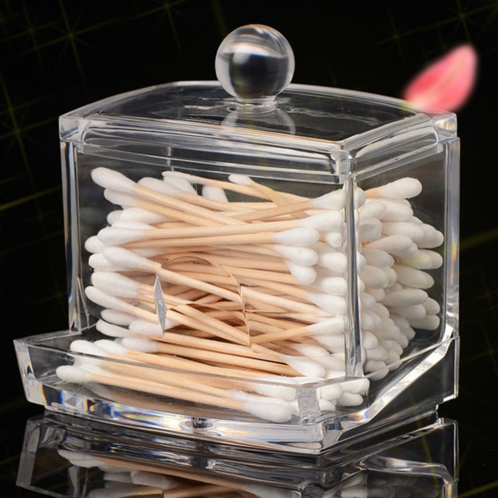 Image 5 - Feiqiong Square Q tips Box Cotton Swabs Holder Cotton Storage Transparent Organizer Box Cosmetic Makeup Case 2019-in Storage Boxes & Bins from Home & Garden