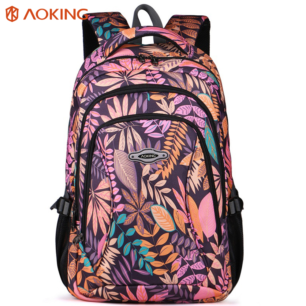 Aoking Brand 2017 Daily Women Backpack For School Teenager Girls Flowers Printed Nylon Travel Backpacks Casual Floral Backpack casual floral printed neck tie