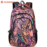 Aoking Brand Daily Women Backpack For School Teenager Girls Leaves Printed Canvas Bag Notbook Backpacks Female