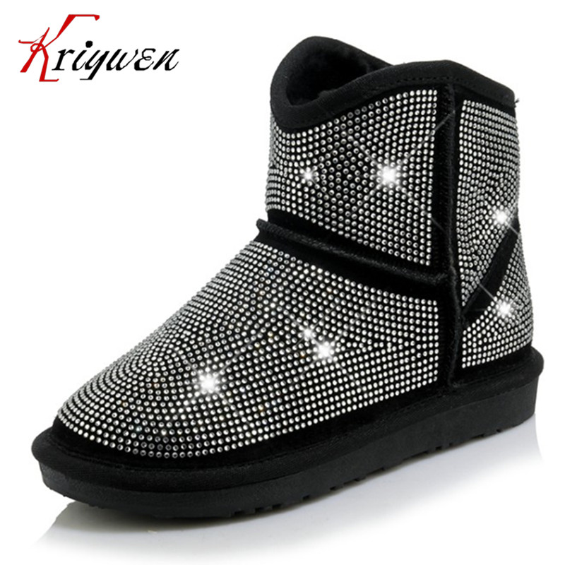 ФОТО 2017 new winter woman flat with shoes round toe cow suede crystal female ankle boots shearling warm snow boots plus size 34-43