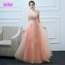 7c759dc35 Sexy coral vestidos largos de baile 2019 nuevo Plus tamaño Prom vestido de  cuello en V Apliques de encaje de las mujeres Formal .