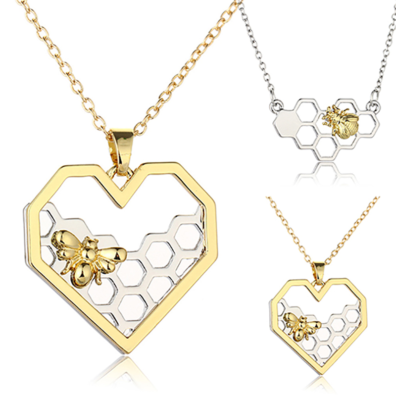 2018 Women Necklace Heart Gold Silver Color Honeycomb Bee Animal Pendant 45cm Jewelry Party Prom Gift