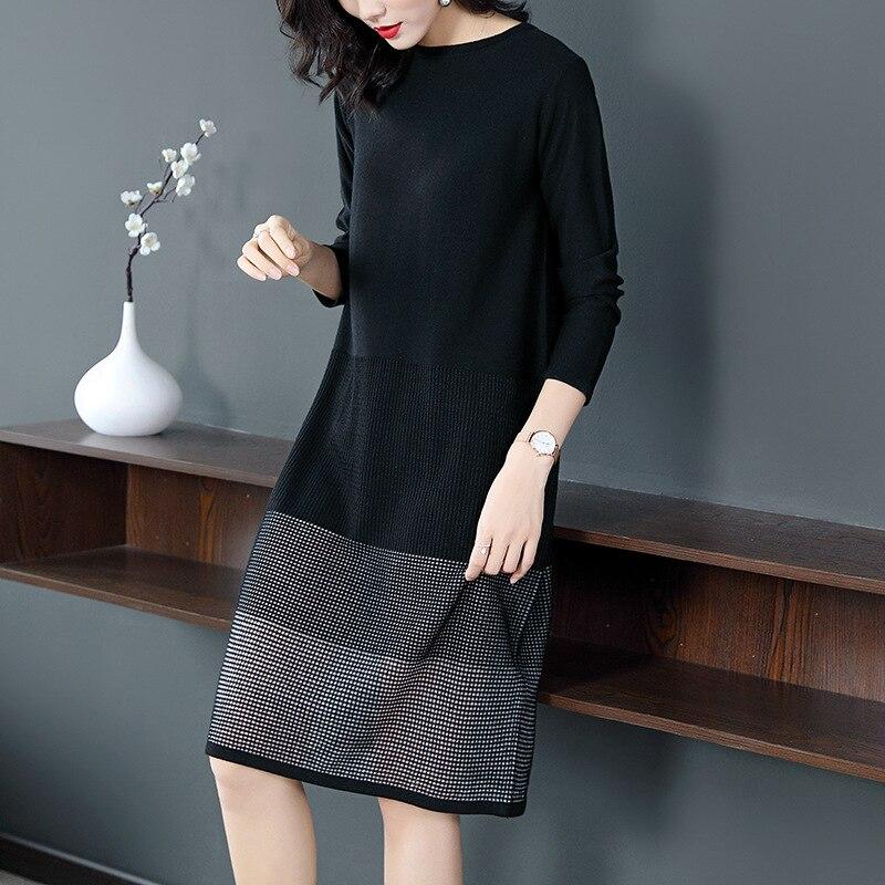 Automne Manches Mode Longues Vêtements Tricoté De Pull Patchwork Femelle Robe Col Black Rond Femmes Casual Chandail qzSUVpLMG