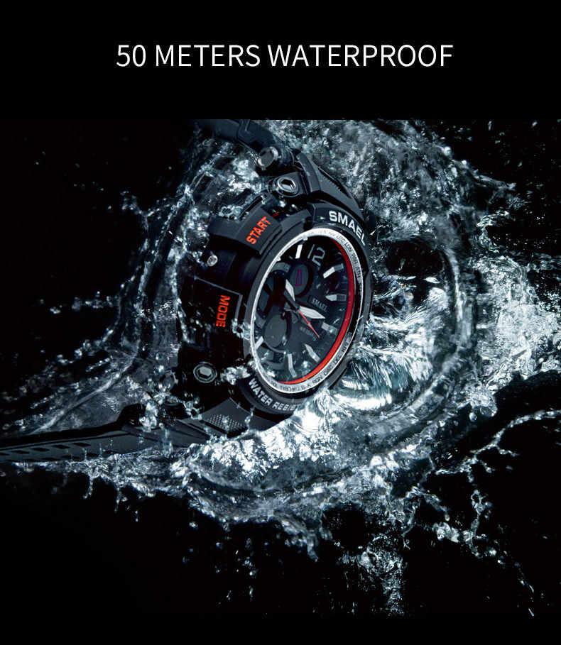 Fashion Jam Tangan Pria LED Dual Display Digital Elektronik Olahraga Pergelangan Tangan tahan air Watch hadiah jam tangan pria bercahaya untuk berenang run