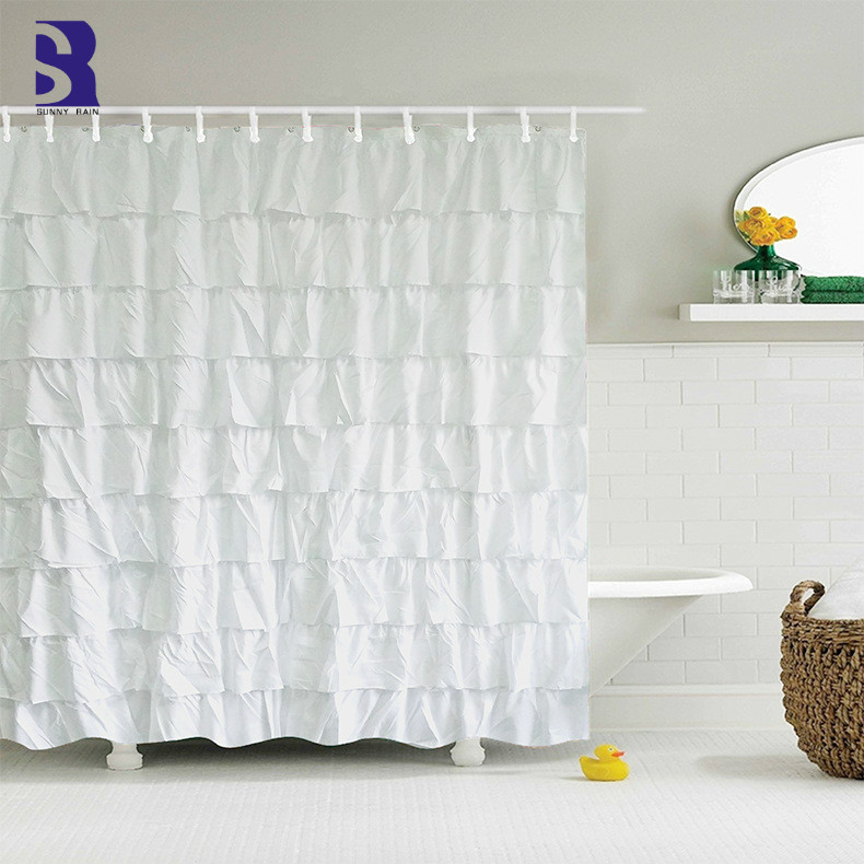 SunnyRain 1 Piece Multilayer Lace White Shower Curtain Large Size Shower Curtains Water Resistant Bath Curtain 180x180cm