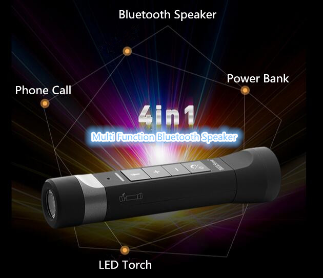 Bluetooth Speaker Smart Waterproof Speaker Bicycle music player Mp3 player LED Flashlight Power bank 4400mah
