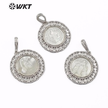 WT-MP116 WKT Classic Shell Pendant Vintage Religion Jesus Humanoid Pattern CZ Micro Pave Silver Lucky Pendant for Necklace Maker