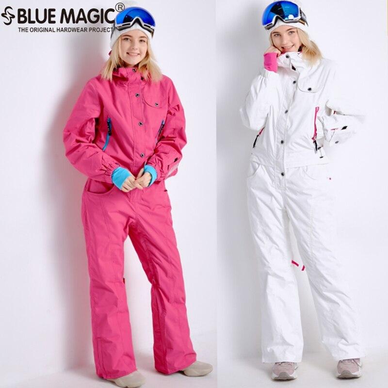 Magia azul nuevo invierno snowboard kombez chaqueta de esquí y pantalones trajes de esquí de las mujeres mono snowboard impermeable general de Rusia
