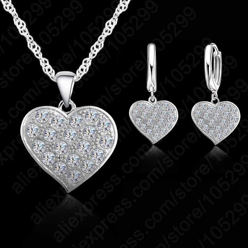 Feine 925 Sterling Silber Herz Diamant Braut Hochzeit Schmuck Set Für Frauen Anhänger Halskette Ohrring Set Bijoux