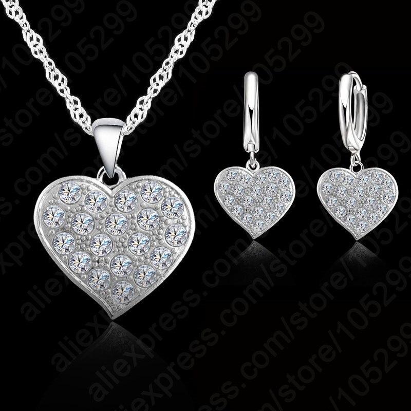 Fine 925 Sterling Silver Heart Diamond Bridal Wedding Jewelry Set For Women Pendant Necklace Earring Set Bijoux