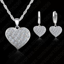 Fine 925 Sterling Silver Heart Diamond Bridal Wedding Jewelry Set For Women Pendant Necklace Earring Set Bijoux(China)