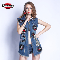 7mang 2018 new summer street party smile face badge hole denim vest punk turn down collar beading long sexy jeans vest