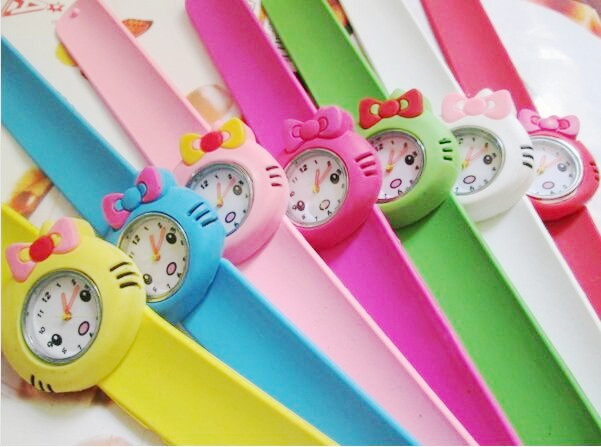 Wholesale 10pcs/lot Randon Candy Colors Hello Kitty Slap Watch Girls Children's