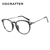 Fashion New Retro Floral Plain Mirror Female Cute Round Plastic Glasses Frame High Quality Myopia Unisex