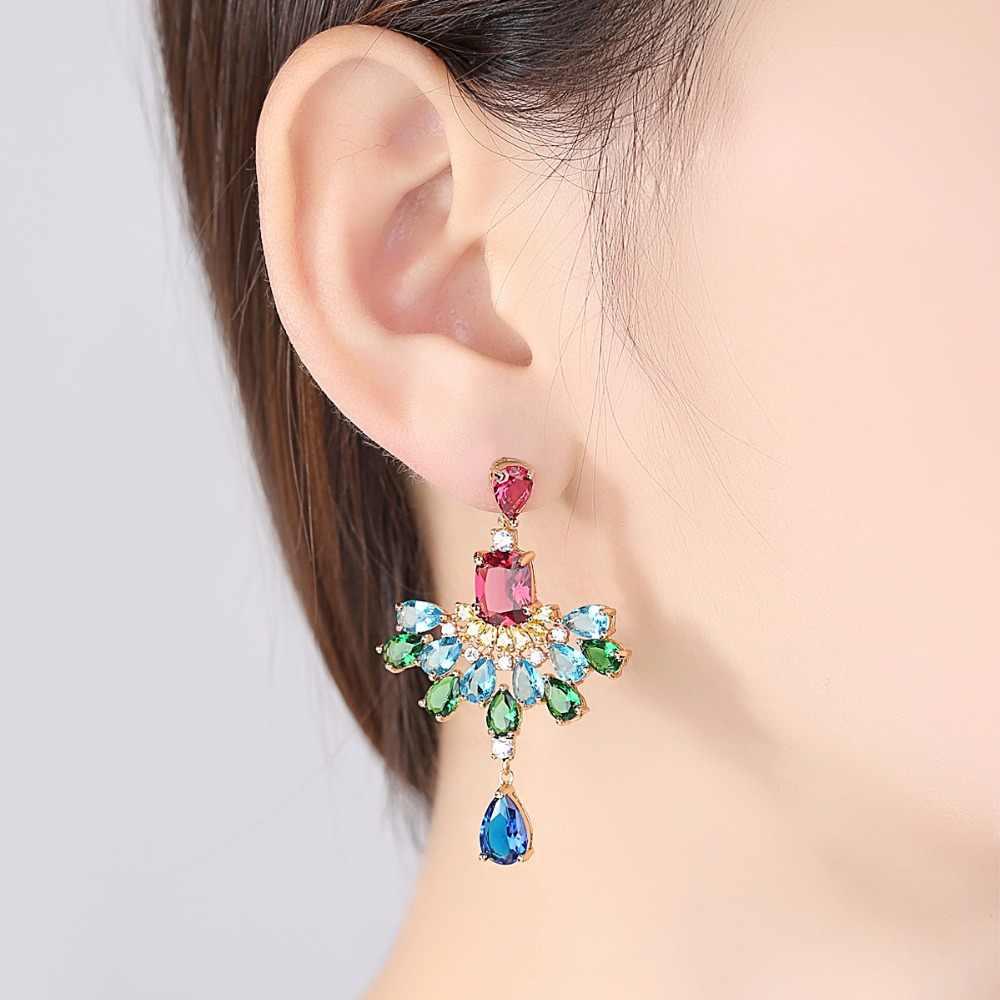 LUOTEEMI New Styles 2018 Fashion Women Girl Jewelry Water Drop Elegant Multicoloured Earrings Delicate Gorgeous Sumptuous