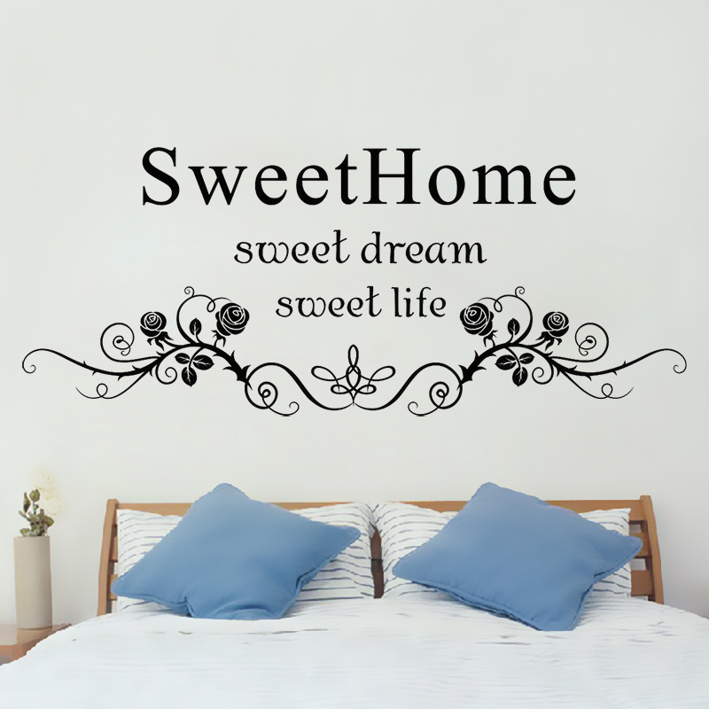 Black Flowers Rattan Wall Art Mural Headboard Sticker Decor Sweet Home Dream Life English Words Quote Decal In Stickers From