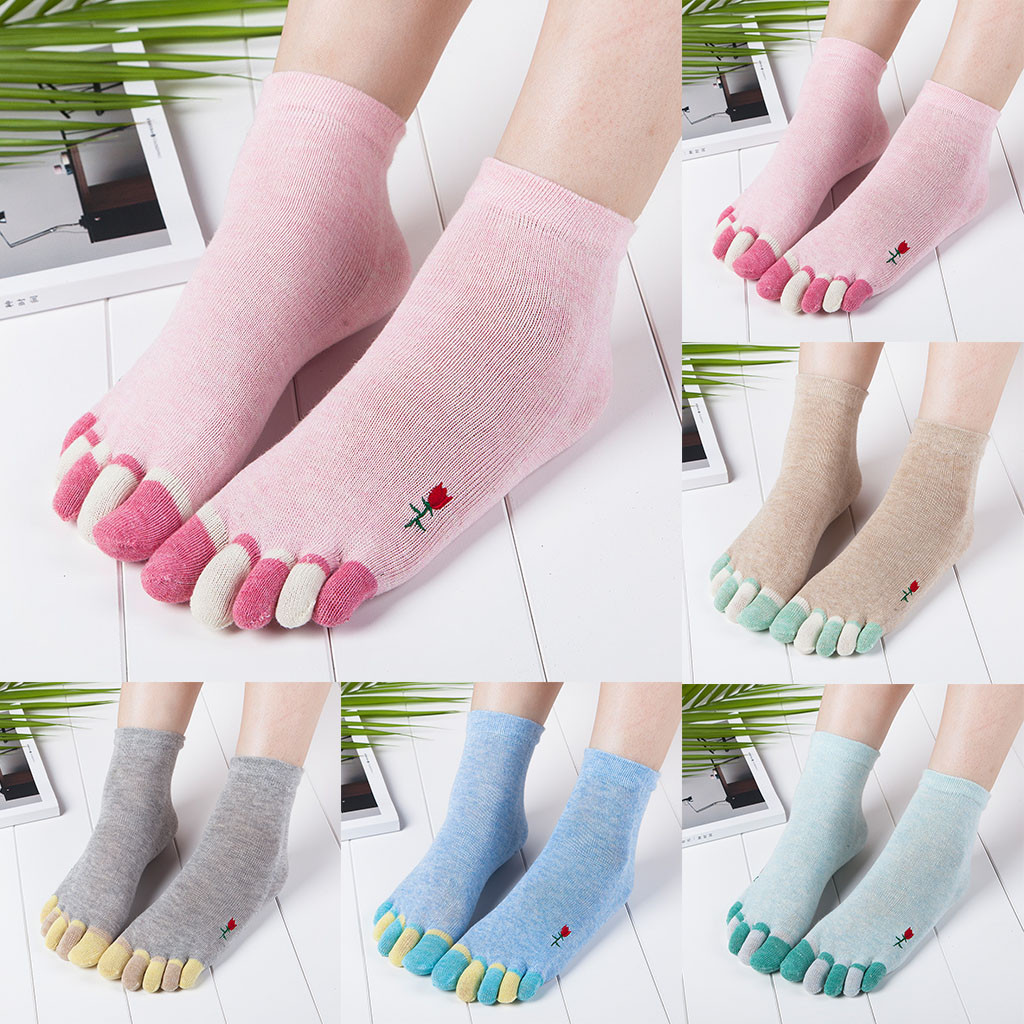 Women's fashion five-finger socks in the tube embroidered color cotton socks