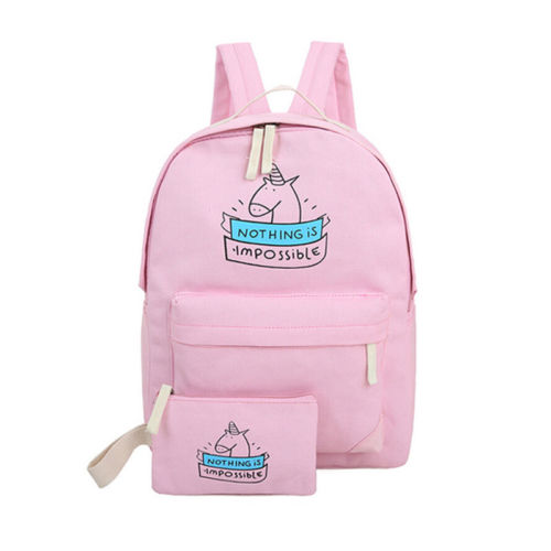 2017 New 2pcs women canvas backpacks with little bag cute unicorn pattern school bag for teenagers girls shoulder bags new gravity falls backpack casual backpacks teenagers school bag men women s student school bags travel shoulder bag laptop bags
