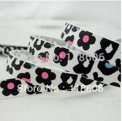 Wholesale 5 8 16mm White Leopard Craft DIY Printed Grosgrain Ribbon BOW