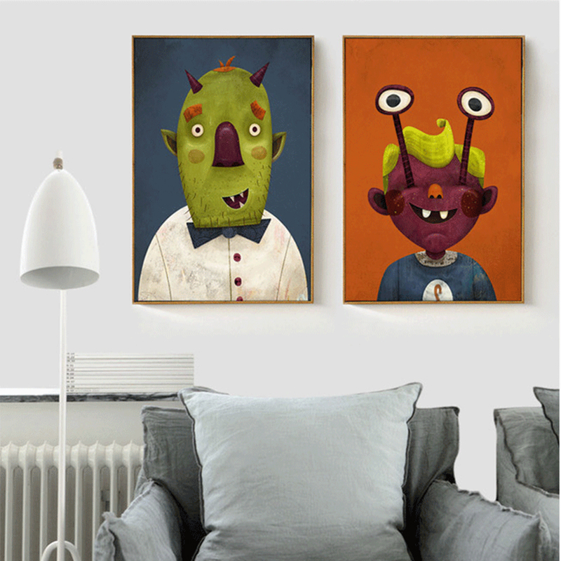 Us 4 44 11 Off Haochu Diy Abstract Art Green Monster Couple Canvas Painting Orange Prints And Pictures Wall Decor For House Hanging Decorative In