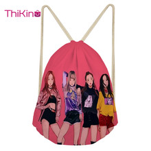 Thikin Blackpink KPopCasual Sack Drawstring Bag for Women Travel Backpack Toddler Softback Lady Beach Mochila DrawString Bag
