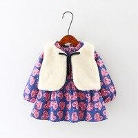 2017 nueva Otoño Invierno geométrico modelos Niñas algodón engrosamiento boutique ropa de moda chaleco 2 unids vestido conjunto