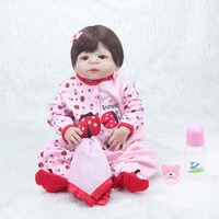 Forrsdor22inch New Victoria Lifelike newborn baby girl with black hair cute Strawberry clothes silicone reborn baby dolls