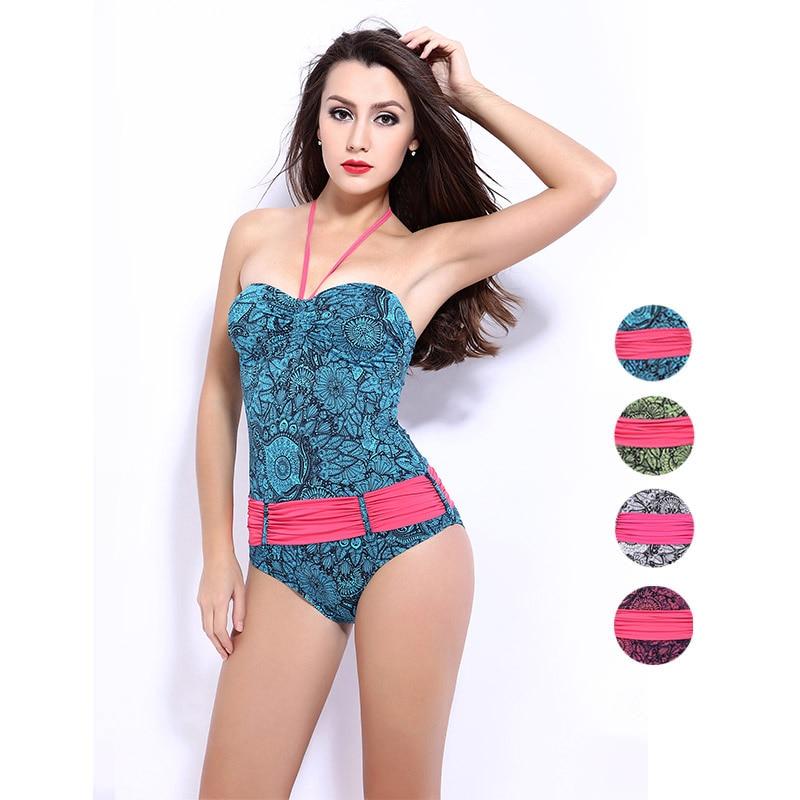 2016 Underwire Bodysuit One Piece Swimsuit Striped Women Swimwear Sexy Halter Slimming Push Up Bathing Suit Femme