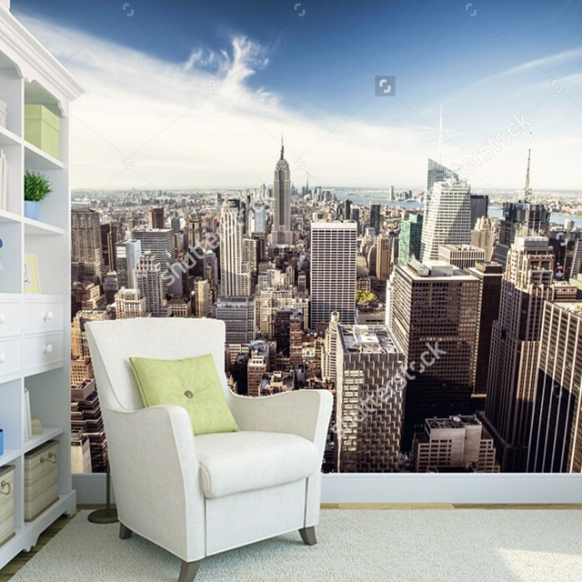 Custom landschap behang, New york skyline, 3D foto muurschildering ...